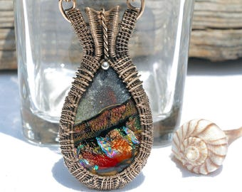 Fused Glass Jewelry, Wire Wrapped Pendant, Wire Wrapping, Wire Weaving, Dichroic Glass, Bohemian Boho, Bronze, Earth Tones (Item #10886-P)