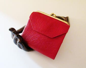PRINCESS GARDNER Red Leather Coin Purse, Wallet, Retro Leather