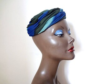 1960s Pillbox Hat, silk striped formal cap, midcentury designer vintage accessory