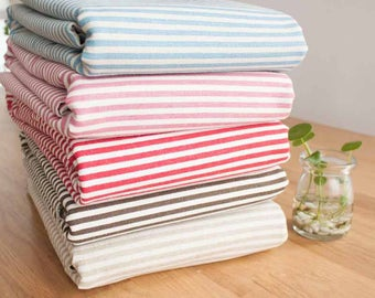 Cotton Linen Fabric Cloth -DIY Cloth Art Manual Cloth -Stripe Anchor Cloth 55x19 Inches