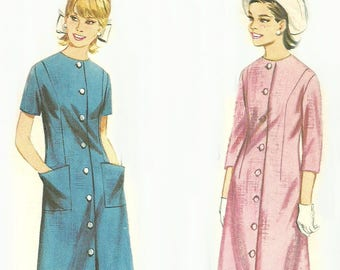 Semi Fitted Button Front Dress Pattern Uncut Bust 36 Butterick 3292 Size 16 Easy to Make
