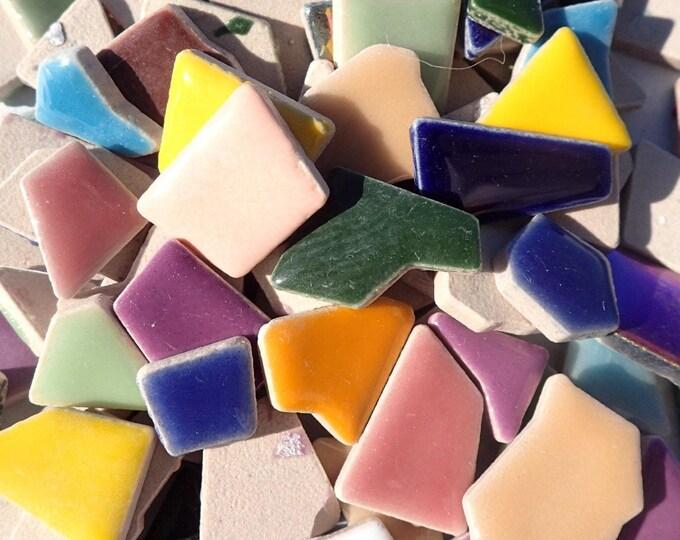 Mosaic Ceramic Tiles - Random Geometric Shapes in Assorted Colors - 50 Tiles - Jigsaw