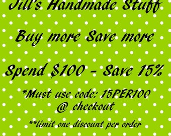 Sale Coupon Code for Jill's Handmade Stuff- 15% Off Order Total, Coworker Gift