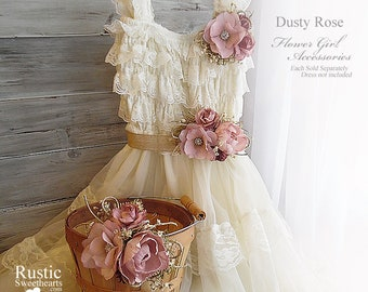Dusty Rose Peony Sola Flower ~ Flower Girl Accessories ~ Pin on Corsage ~ Sash ~ Basket. Ready to ship!