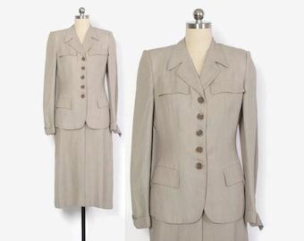 Vintage 40s Stone Beige Suit / 1940s Woven Wool Tailored Blazer Jacket & Pencil Skirt S