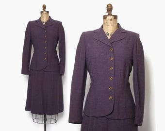 Vintage 40s Purple Suit / 1940s Plum Tweed Wool Tailored Blazer Jacket & Pencil Skirt M