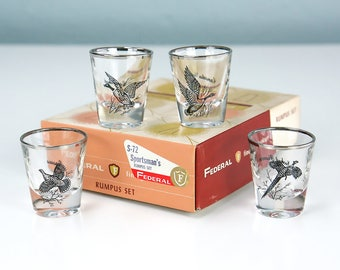New Old Stock, Federal Glass Company Sportsman's RUMPUS SET of Four Game Bird Themed Barware Glasses in Original Box, Shot Glasses