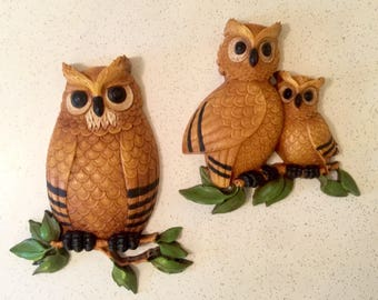 Vintage Homco Owl Wall Hanging 1970s Home Decor