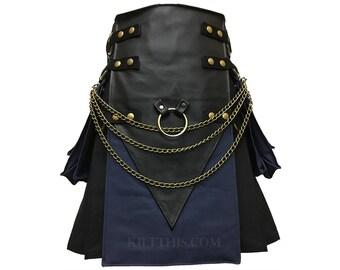 Interchangeable Black & Navy Blue Canvas Cargo Utility Kilt Leather V Shape Design Brass Kilt Chains Adjustable Custom Many Options