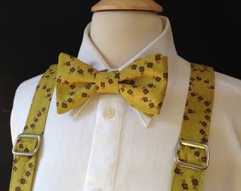 Handmade Suspender And Bow Tie Set / Fall Summer Country Wedding / Custom Made Pre-tied Bow Tie / Mens Bow Ties Suspenders / Rustic Wedding