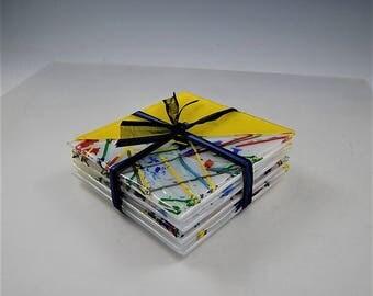 Yellow Confetti 2Tone Coasters (set of 4)