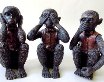 3 Wise Monkeys, Hear - See - Speak No Evil Set of Figurines 6""