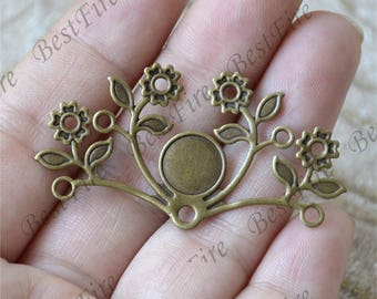 6pcs Antique Brass flower Filigree Jewelry Connectors Setting,Connector Findings,Filigree Findings,Flower Filigree