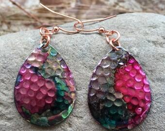Earrings, copper, colored, watercolor