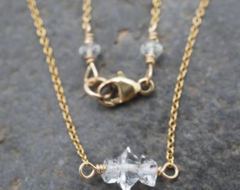 Delicate Herkimer Diamond and 14k Gold Fill Necklace - Trio of Tiny Diamonds