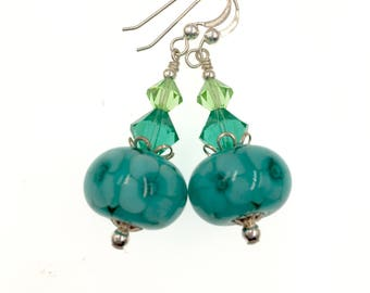 Glass Bead Earrings, Teal Lampwork Earrings, Unique Earrings, Green Beadwork Earrings, Lampwork Jewelry, Flower Glass Bead Jewelry