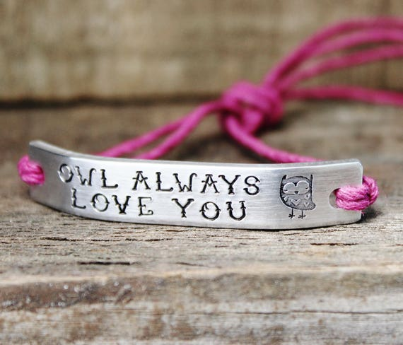 Custom Order BRACELET With Hemp Cord Owl Always Love You ONE Custom Hand Stamped Jewelry Name Personalized Friendship Gift For Friend