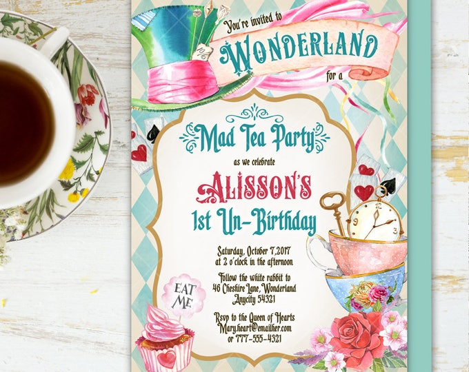 Alice in Wonderland Tea Party Birthday Invitation, Mad Hatter Tea Party Birthday Invitation, Onederland Printable Invitation 6v.1