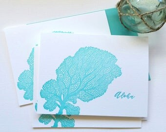 Fan Coral Letterpress Cards Aloha Mahalo Folded Cards Aqua Blue