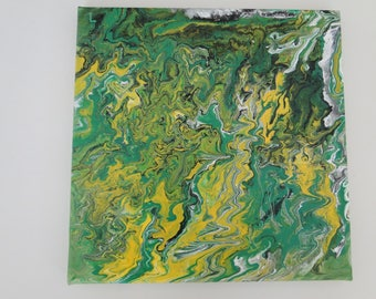 Acrylic Abstract Painting Study in Green and Yellow