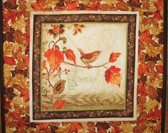 Fall Table Topper, Thanksgiving, handmade, quilted, fall leaves, bird, Wall hanging