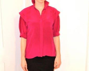 SALE Vintage Pink Silk Shirt Size Small Medium with Shoulder Detailing 80s Silk Shirt Pink