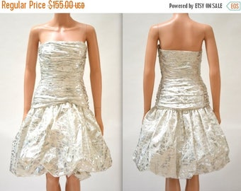 SALE 80s Metallic Prom Dress Size XS Small White and Silver by Vicky Tiel// Vintage Metallic 80s Party Dress Silk Strapless XS Small White S