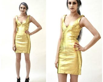 SALE 90s Metallic Gold Leather Dress by Michael Hoban North Beach Leather// 90s Leather Dress Gold Size XS Small