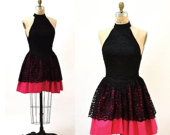 SALE 90s Vintage Party Dress Black and Pink Lace size Small Medium// 80s 90s Prom Dress Black Pink Lace by Tadashi SmallCrinoline Skirt