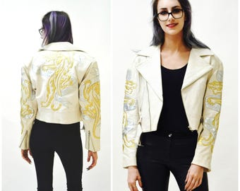 Vintage White Leather Motorcycle Jacket by North Beach Michael Hoban// Vintage White Metallic Leather Moto Jacket SIze Small