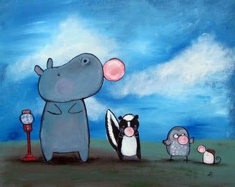 Art Print Bubble Gum Animal Hippo Skunk Owl Mouse Illustration Kids Wall Nursery Decor Whimsical Storybook Artwork for Children Original