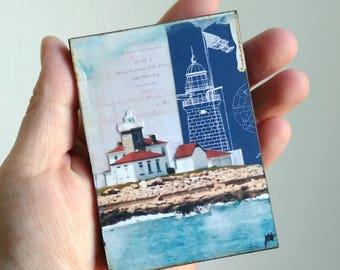"""Lighthouse Art, Mini Art, Mixed Media, Watch Hill Art, Rhode Island Art, lighthouse gift, 2.5"""" x 3.5"""" ACEO Wood Block """"Watch Hill Light II"""""""