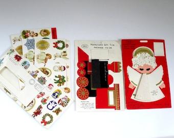Vintage Christmas Seals, Assorted Classic Christmas, Vintage Christmas Stickers,  Vintage Labels, Gummed Seals, Vintage Honeycomb Angel