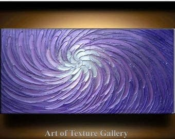 SALE Big Abstract Painting 52 x 26 Custom Original Heavy Texture Carved Sculpture Floral Purple SIlver White Modern Oil Painting by Je Hlobi