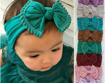Baby Headbands Baby Nylon Headbands,Big Bow Headbands,Knott Headband,Baby big bow,Nylon top knot bow head wraps headbands, Newborn headband