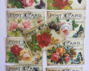 9 Vintage Postcard Roses Butterfly Shabby Chic Edible Images for your iced cookies, cakes, chocolates and dessert bars