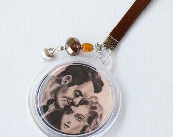 """Key ring """"Lost Lovers"""", designer, srerie limited, accessory handmade, fabric, beads, Valentines Day gift idea"""