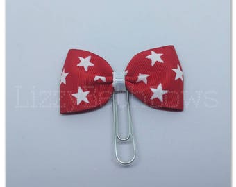 Planner clip, bookmark, planner bow clip, bow bookmark, 4th of July bow, American flag, red and white bow clip, white stars