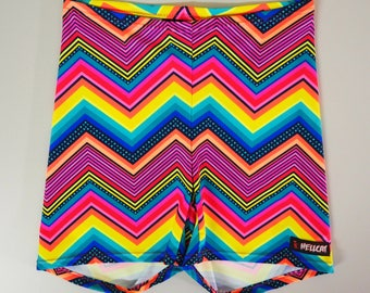 Neon Rainbow Chevron 90's Bike Shorts
