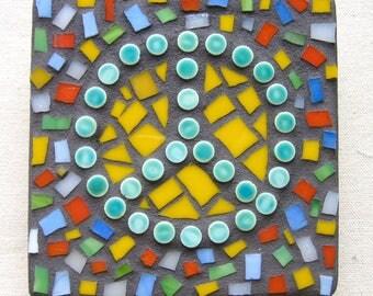 Peace, Boho, Wall Hanging, Love, Gift, Home Decor, Green, Confetti, Mosaic, Original Art