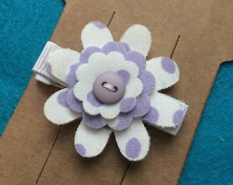 Purple and White Polka Dot Felt and Fabric Flower Hair Bow Clip