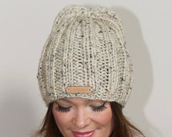 Women Beanie Hat Chunky Slouchy Hat Knitted Women Hat Winter Hat CHOOSE COLORS Ivory Birch Brown Chunky Hand Knit Christmas Gift under 50
