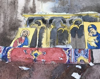 Original watercolor Middle East Christian - Iraki church St-Georges Bartella