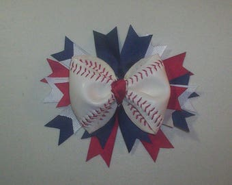 REAL Baseball Bow Barrette Red White And Blue Ribbons Can substitute ribbon colors.
