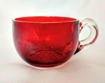 Vintage Collectible Ruby Red Flash EAPG Pressed Glass Souvenir CURTISS WI Cup Mug Snowflake ref. 18452