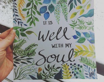 It is well with my soul 8 x 8 watercolor (unframed)