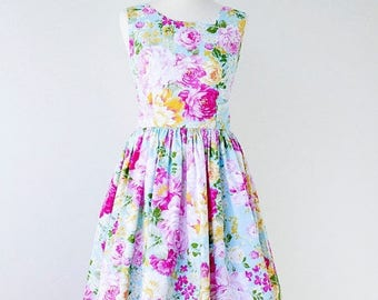 On Sale Floral bridesmaid dress, cotton bridesmaid dress, floral dress, vintage inspired dress - SIZE 6