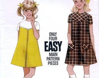 Butterick 5040 Vintage 60s Sewing Pattern for Girls' Dress - Uncut - Size 8