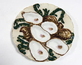 Rare French Antique Hand Painted 'Turkey' Oyster Plate by Haviland c. 1876 to 1889
