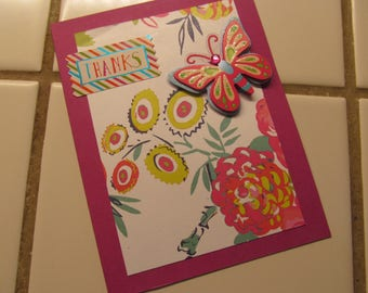 Thank You Card -- Upcyled Flower Paper